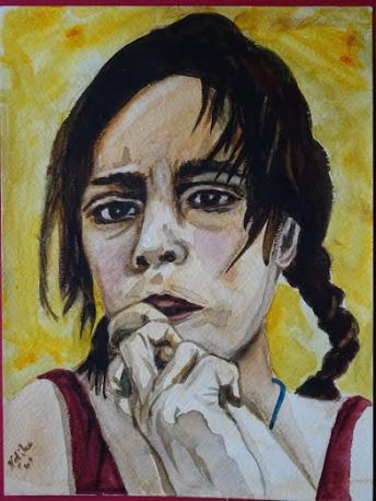 """-title: Roma Girl - size: 9""""x 11"""" or 23 cm x 28 cm -media: watercolour on watercolour paper -year: 2009 -description: a portrait of an anxious, sad Romani Girl -comment: 2nd Prize Winner of the City of Toronto Frankly Bob Award, 2009"""