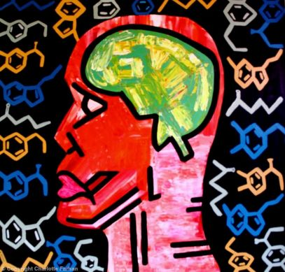 """Anxiety - By Charlotte Farhan This is a depiction of anxiety. The 5 symbols are the main neurotransmitters involved with anxiety. Anxiety disorders are associated with decreased activity of serotonin, dopamine and Gamma-aminobutyric acid (GABA) in the brain. Norepinephrine (NE) and Epinephrine (adrenalin) can be over-active and are the hormones and neurotransmitter which allows us to have the """"fight or flight"""" response to stress."""