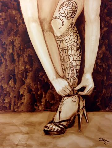 Mandirigma in Stilettos (Warrior in Stilettos) by Clarisse Pastor-Medina A coffee painting done in collaboration with Rex Gatdula (tattoo design) This is part of my coffee painting series called BIAK: Explorations of Filipino Heritage, Identity, Immigration and Assimilatio