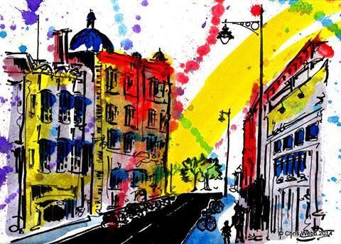 'Osborne Road' By Christopher Webb Southsea, UK - Ink & Watercolour Inks, 2014