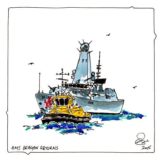 Nautical 'HMS Dragon Returns' Ink & Watercolour 2015 - By Chris Webb