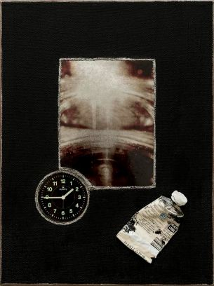 """'Quarter of 2' By Jana Charl 2014 30.5 x 23 x 5cm Mixed media (pigment on metallic paper, acrylic on canvas, and found objects) My artwork is a reflection of art therapy related to insomnia and specifically tied to PTSD. The title is extracted from lyrics in an early Tom Waits album """"Goin' Down Slow."""""""