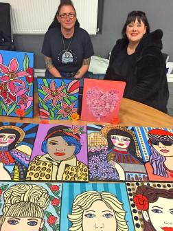 Artist Misstresslisa and her Artworks at ASLI'S event and pop up exhibition to raise awareness about mental illness in Portsmouth, UK