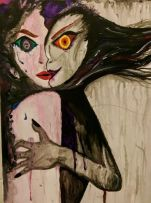 'Protector' - By Jade Bryant It essentially shows how both the BPD (left side) and the ASPD (right side) work in coexistence with each other, but that isn't a bad thing. The ASPD often protects the BPD side when things get too overwhelming, which has brought me back from suicide various times, if i didn't have that side to me, I really don't think i'd be here. The arm wrapping around the BPD side shows protection. Though the eyes are different, the BPD has green and blue colours to represent the innocence of feelings to an extent and the most predominant emotions I struggle with in a BPD crises, which are depression, lonliness and helplessness followed by me realizing how I have acted and becoming overly emotional, the pupil of that eye is multicoloured to represent the spectrum of emotion. Whereas the other ASPD eye is red, and orange with striking yellow to signify the most dominant emotions and feelings i get from that side of me, which are confidence, boldness, sometimes coldness and distance, but independence and adaptability. The mouths are different also, on the BPD side to represent shock, and dissociation, a frozen sort of expression, wanting help but not knowing how to ask for it. Whereas the ASPD side is more of a devilish smile because it represents how it can often be sneaky, cunning and manipulative, but also lustful and playful and strong.