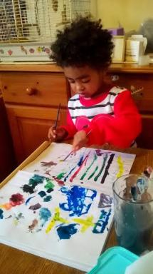 Artist Louise Tomkinson's daughter Hope, an aspiring young artist