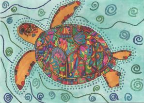 Aborigine inspired Turtle Doodle - By Lynn Excell