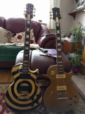 Robert's Epiphone Les Paul Custom Zakk Wylde Signature (left) Gould Les Paul (right)