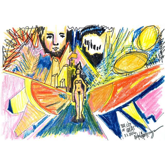 'The City Of Ideas', Mirapuri, 2014, wax crayon on paper, 29,7 x 42 cm