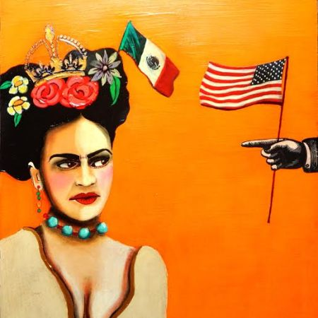 Modern Frida: Misguided Finger Pointing 16 x 20 - Acrylic/Mixed Media on cradled panel wood. by Sherry Dooley