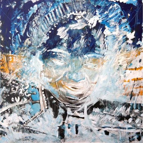 'Deep Space Woman', Universe Triptych #2, Mirapuri, 2014, acryl on canvas, 100 x 100 cm
