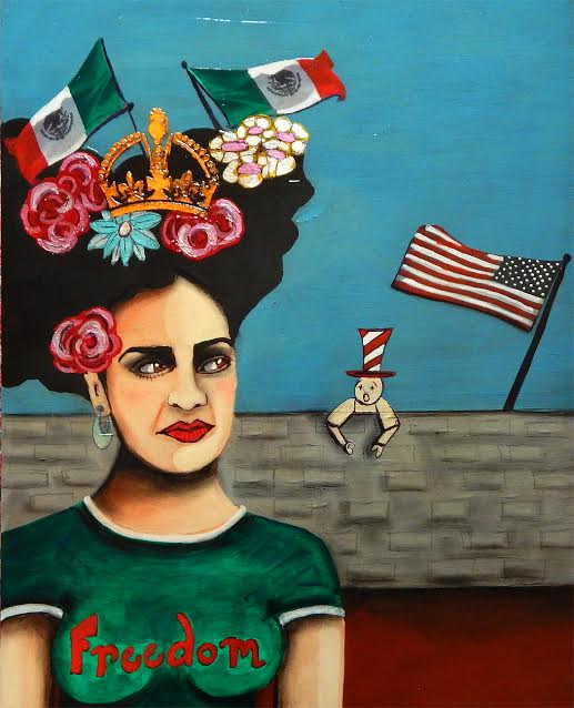 Modern Frida: It's Your Wall. I'm Free, Are You? 16x20x1.5 Acrylic/Mixed Media Cradled wood panel by Sherry Dooley