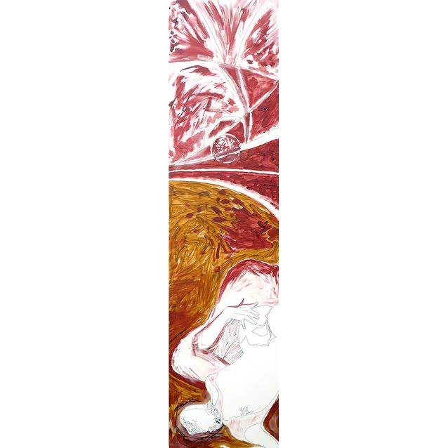 'Girl & Girl', Mirapuri, 2013, ink and acryl on canvas, 30x118cm