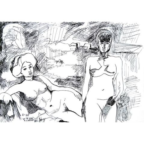 'Two Time-Women In a Landscape', Mirapuri, 27th January 2015, ink on paper, 29,7 x 42 cm