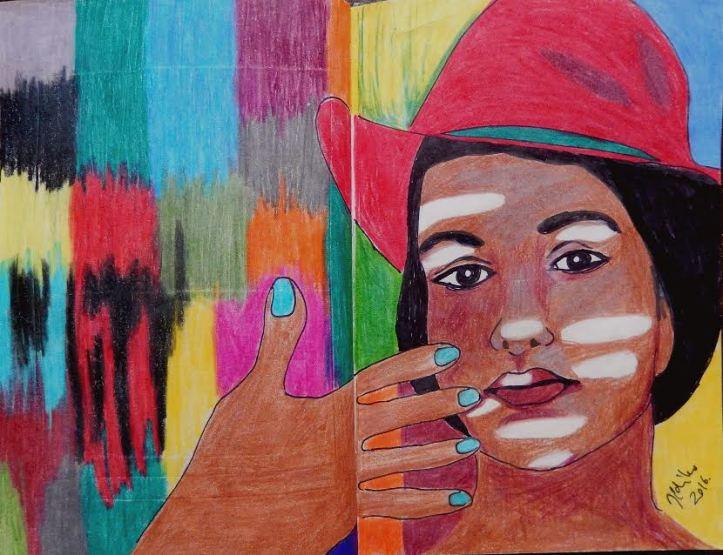 Colours -mixed media on paper, journal entry (28 x 21 cm) By Artist Ildiko Nova
