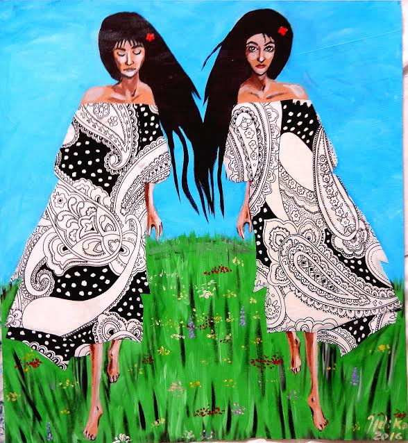 Roma girls - mixed media (acrylic paint and fabric on board) (55 x 60 cm) by Artist Ildiko Nova