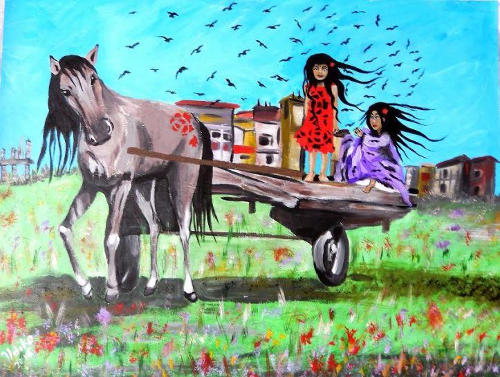 Village - acrylic on board (80 x 61 cm) by Artist Ildiko Nova